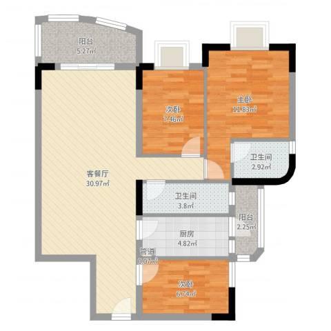 聚豪名轩3室2厅2卫1厨95.00㎡户型图