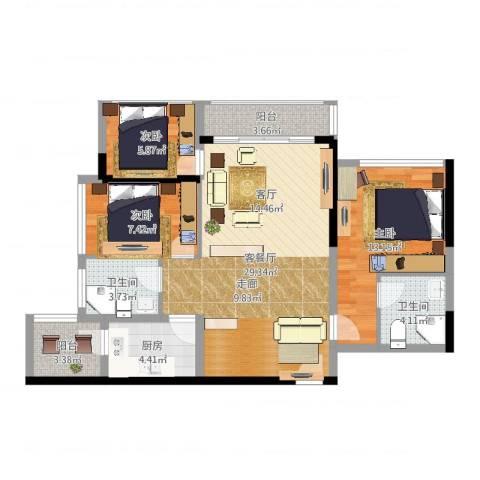 六和城3室2厅2卫1厨94.00㎡户型图