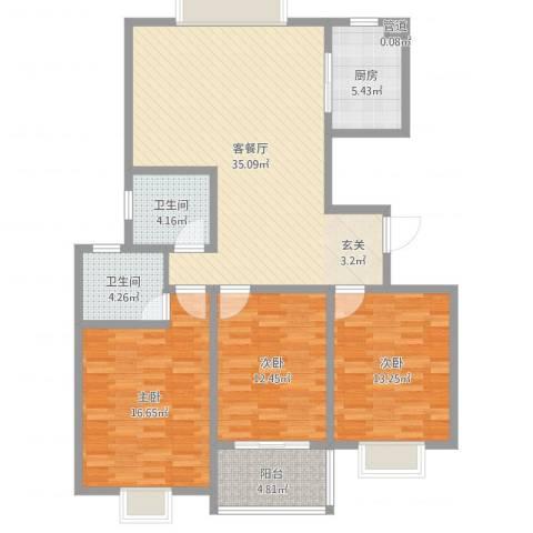 江南人家3室2厅2卫1厨120.00㎡户型图