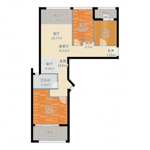 姑苏裕沁庭锦苑2室2厅1卫1厨116.00㎡户型图