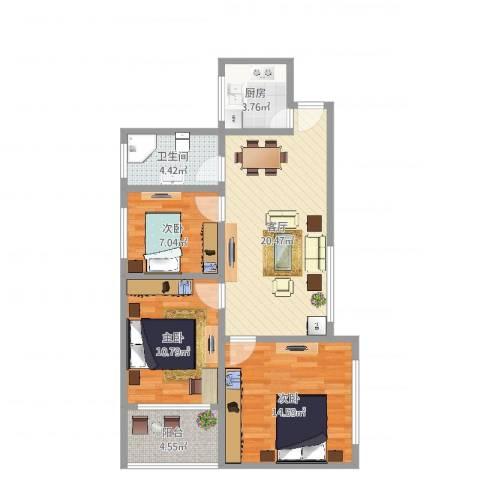 天目东路206号3室1厅1卫1厨82.00㎡户型图