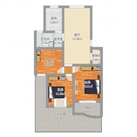 贝越佳园3室3厅1卫1厨129.00㎡户型图
