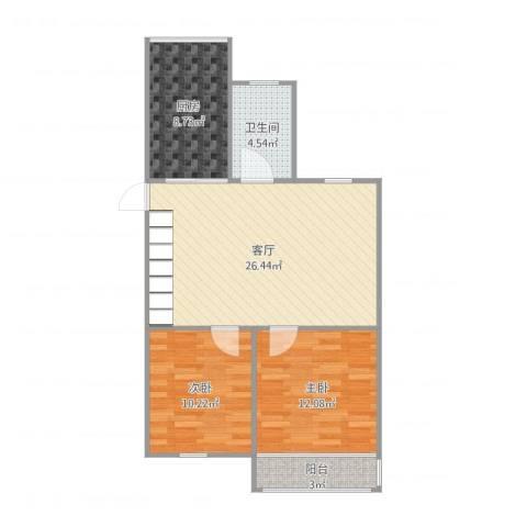 经纬城市花园2室1厅1卫1厨81.00㎡户型图