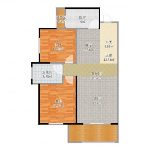 遂平建业森林半岛2室2厅1卫1厨106.00㎡户型图