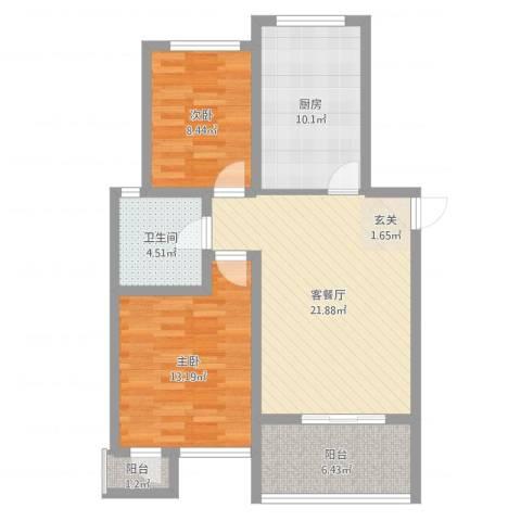金福南苑2室2厅1卫1厨82.00㎡户型图