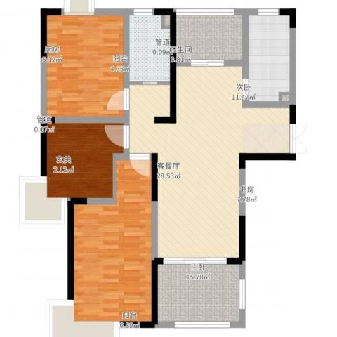 金茂国际3室2厅1卫1厨122.00㎡户型图