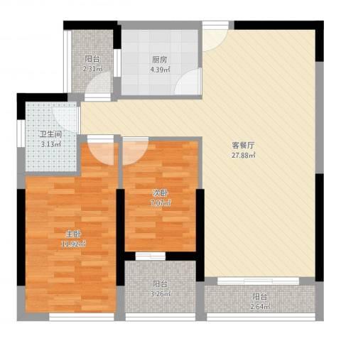 长安地王广场2室2厅1卫1厨78.00㎡户型图