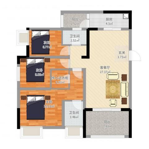 光华可乐小镇C区3室2厅2卫1厨100.00㎡户型图