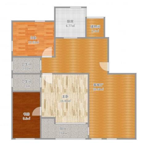 社会山花园3室2厅2卫1厨123.00㎡户型图