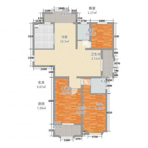 瑞景国际3室2厅2卫1厨143.00㎡户型图