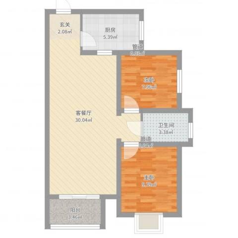 赵庄公寓2室2厅1卫1厨75.00㎡户型图