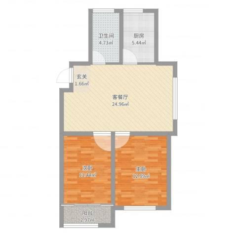 宝华・天泽府2室2厅1卫1厨78.00㎡户型图