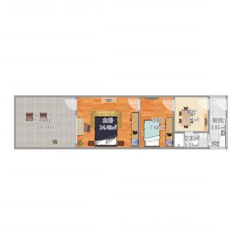 上钢六村2室1厅1卫1厨59.00㎡户型图
