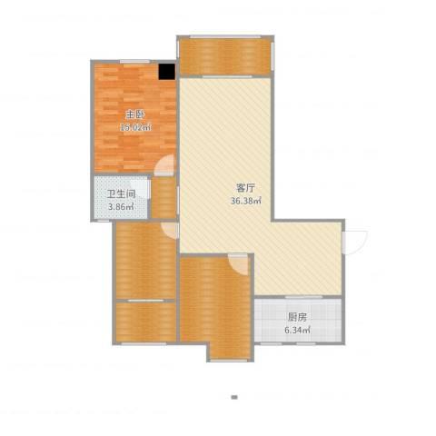 海陵首府1室1厅1卫1厨115.00㎡户型图