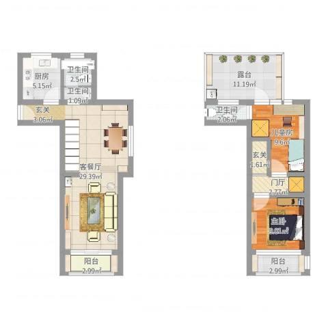 丽景新苑2室2厅3卫1厨100.00㎡户型图