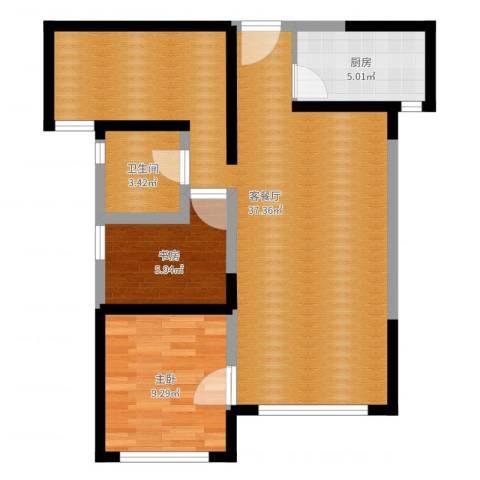 嘉逸岭湾2室2厅1卫1厨76.00㎡户型图