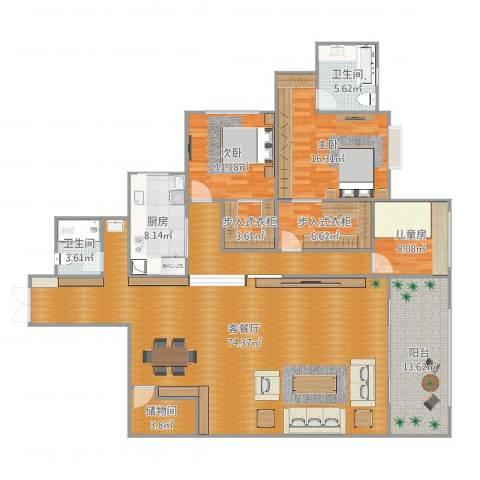 佳瑞园副本3室2厅2卫1厨194.00㎡户型图