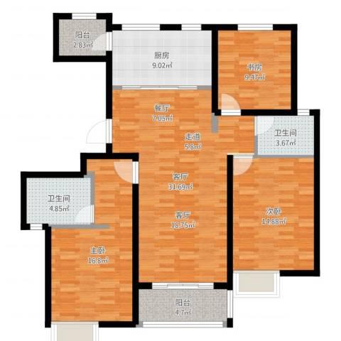 保利御樽苑3室1厅2卫1厨122.00㎡户型图