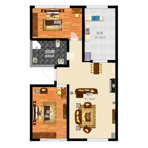 昆仑唐人中心2室1厅1卫1厨125.00㎡户型图