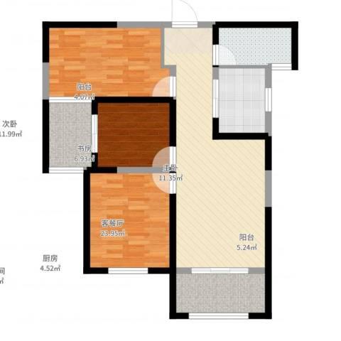 东方米兰国际城3室2厅1卫1厨105.00㎡户型图