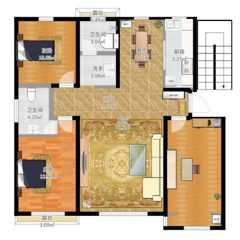 明佳花园2室1厅2卫1厨120.00㎡户型图