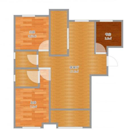 秋泽园135平3室2厅3卫1厨56.00㎡户型图