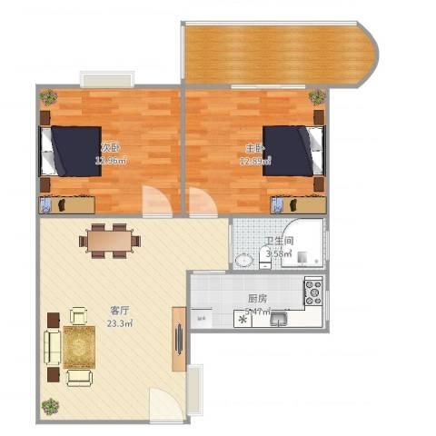 毅宏花园2室1厅1卫1厨83.00㎡户型图