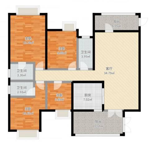 富盈四季华庭4室1厅3卫1厨138.00㎡户型图