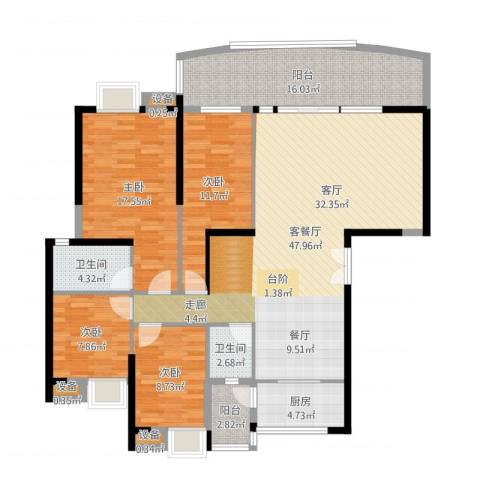 顺联新城花园4室2厅2卫1厨157.00㎡户型图