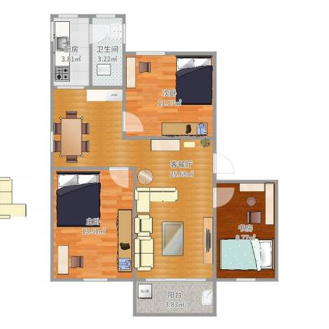 华侨新村3室2厅1卫1厨87.00㎡户型图