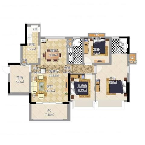 乐湾首府3室2厅2卫1厨116.00㎡户型图