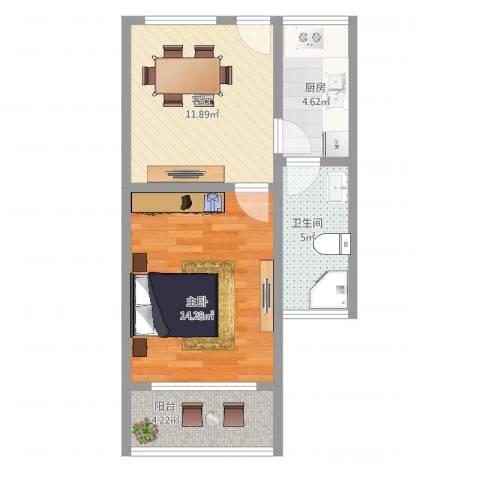 罗山五村1室1厅1卫1厨50.00㎡户型图