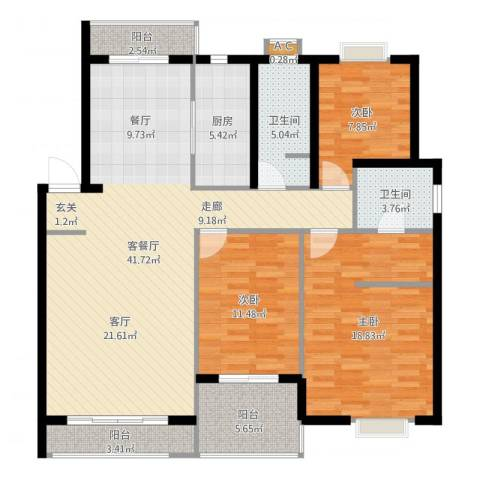 惠丰花园3室2厅2卫1厨132.00㎡户型图