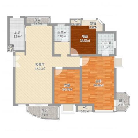 中铁人才家园3室2厅2卫1厨127.00㎡户型图