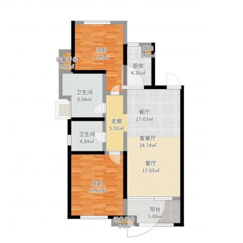 铂悦山2室2厅5卫1厨111.00㎡户型图