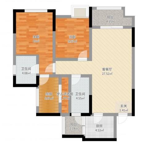 融创凡尔赛领馆2室2厅2卫1厨96.00㎡户型图