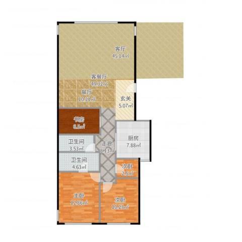 东城逸墅4室2厅2卫1厨122.00㎡户型图