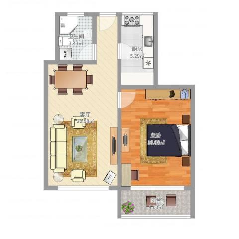 共康六村1室1厅1卫1厨64.00㎡户型图