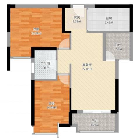 海伦春天2室2厅1卫1厨77.00㎡户型图