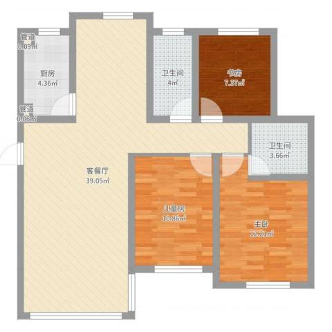 海上印象花园3室2厅2卫1厨102.00㎡户型图