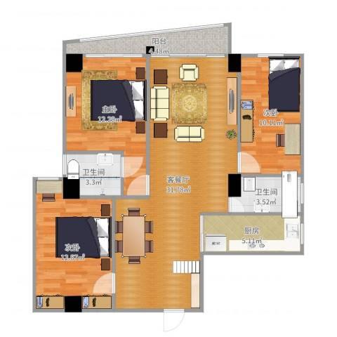 银燕大厦3室2厅2卫1厨104.00㎡户型图