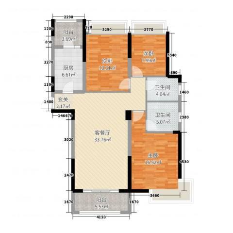 益阳碧桂园3室2厅2卫1厨132.00㎡户型图