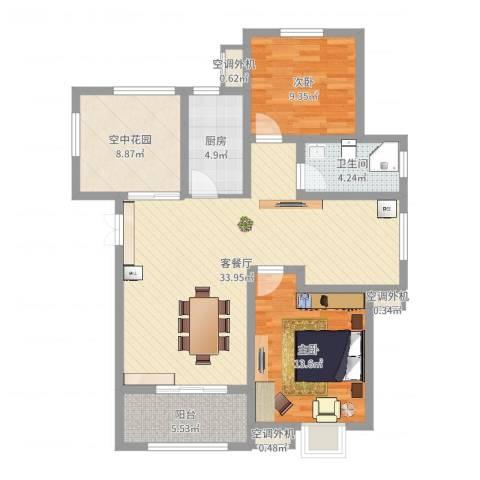 御景山庄紫金园2室2厅1卫1厨102.00㎡户型图