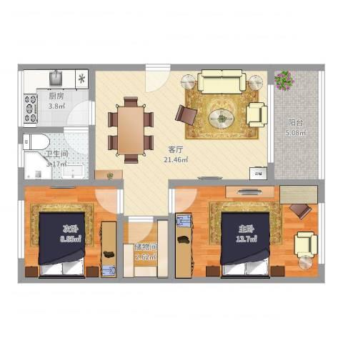 南九峰2室1厅1卫1厨73.00㎡户型图