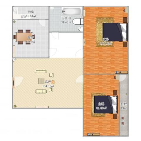 机床一厂宿舍2室1厅1卫1厨389.00㎡户型图