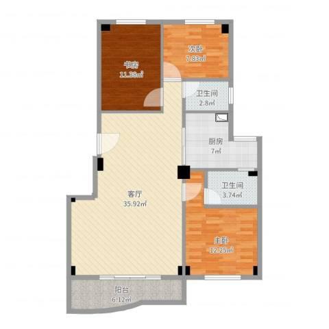 金山小区3室1厅2卫1厨109.00㎡户型图