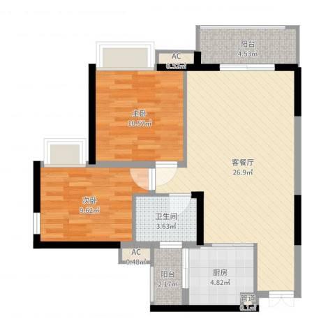 世纪城幸福公馆2室2厅1卫1厨79.00㎡户型图