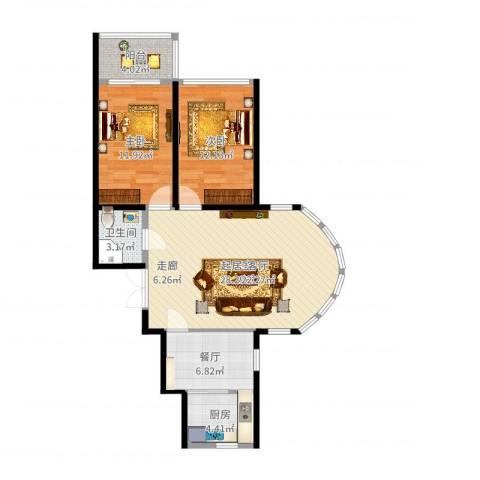 金榜苑2室1厅1卫1厨88.00㎡户型图