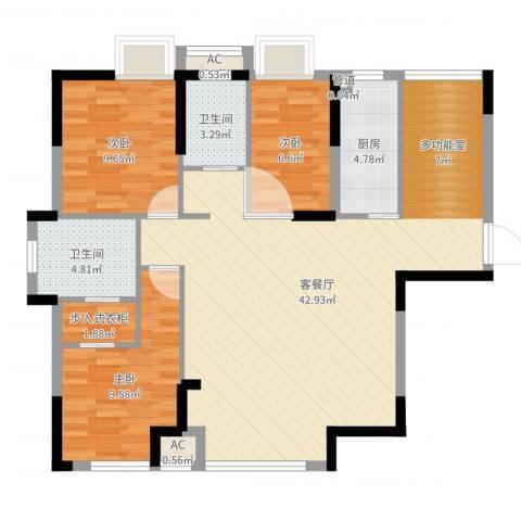 碧桂园别墅3室2厅2卫1厨106.00㎡户型图