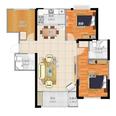 澳海澜庭2室1厅2卫1厨114.00㎡户型图